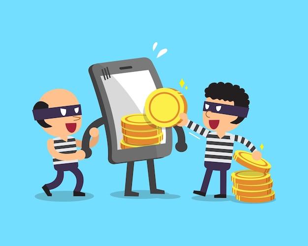 Cartoon dieven stelen geld van smartphone
