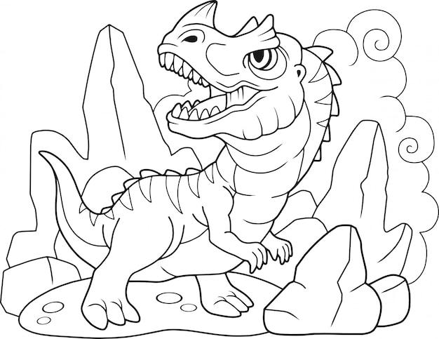 Cartoon dinosaurus ceratosaurus Premium Vector