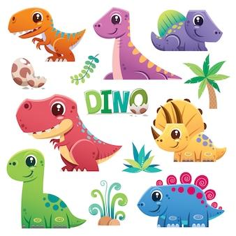 Cartoon dinosaurus tekenset