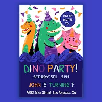 Cartoon dinosaurus verjaardag uitnodiging sjabloon