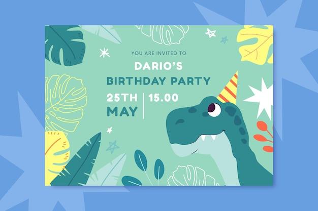 Cartoon dinosaurus verjaardagsuitnodiging