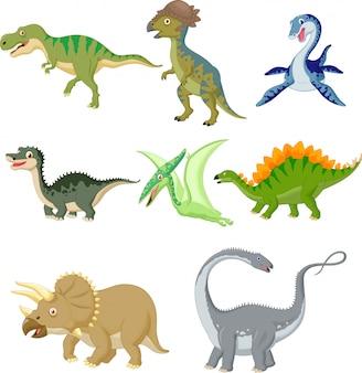 Cartoon dinosaurussen collectie set