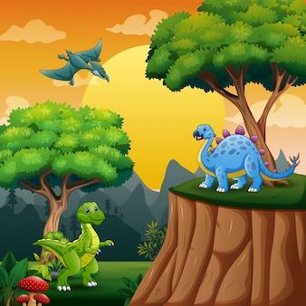 Cartoon dinosaurussen in de jungle