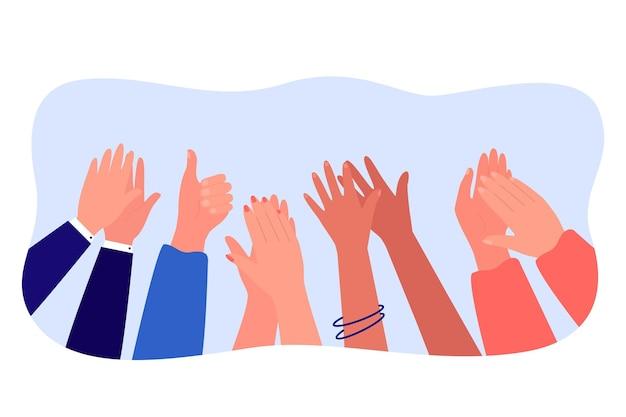Cartoon diverse mensen handen applaudisseren vlakke afbeelding