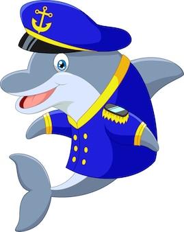 Cartoon dolphin met uniform kapitein