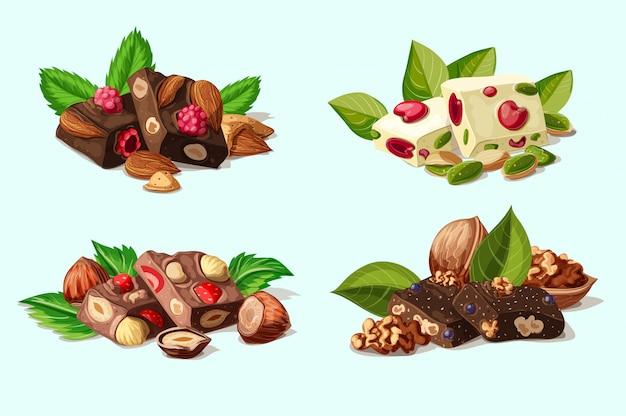 Cartoon donkere en melkchocolade stukken