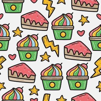 Cartoon doodle cupcake patroon ontwerp
