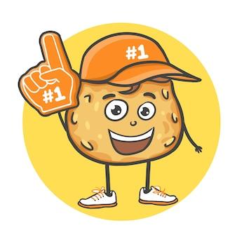 Cartoon doodle handgetekende koekjes met nummer 1 eén fan handschoen