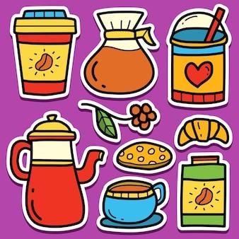 Cartoon doodle kawaii koffie sticker ontwerp