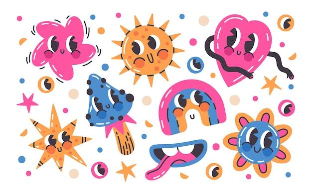Cartoon doodle komische schattige emoji tekens vector illustratie set