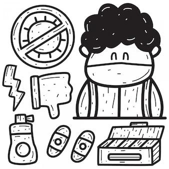 Cartoon doodle ontwerp verdrijft virussen