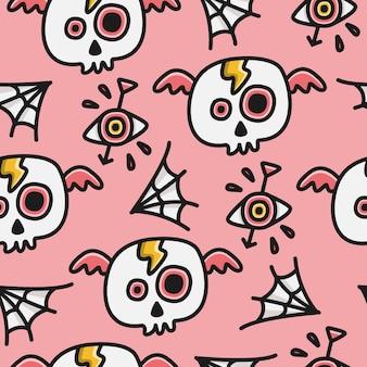 Cartoon doodle schedel patroon ontwerp