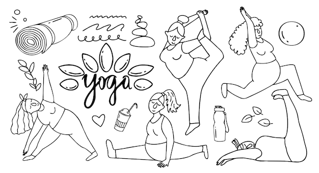 Cartoon doodle van vrouw die yoga doet in verschillende poses vectorillustratie