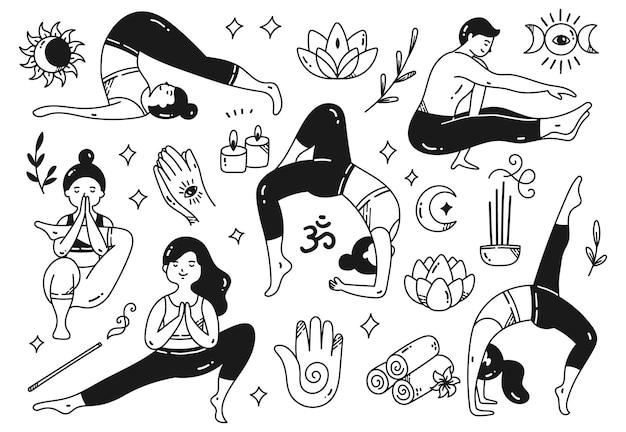 Cartoon doodle van vrouw die yoga doet in verschillende poses