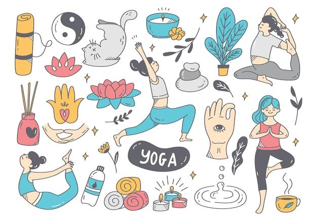Cartoon doodle van vrouw doet yoga in verschillende poses