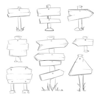 Cartoon doodle weg houten tekens vector set