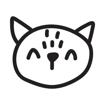 Cartoon doodle zwarte kat tekening. eenvoudig en schattig kitten silhouet, halloween vectorillustratie.