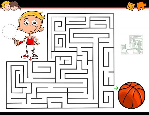 Cartoon doolhof activiteit met jongen en basketbal