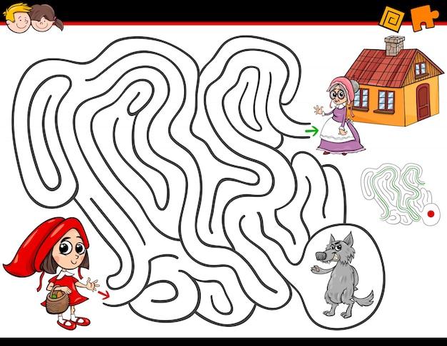 Cartoon doolhof activiteit met kleine rode paardrijden kap