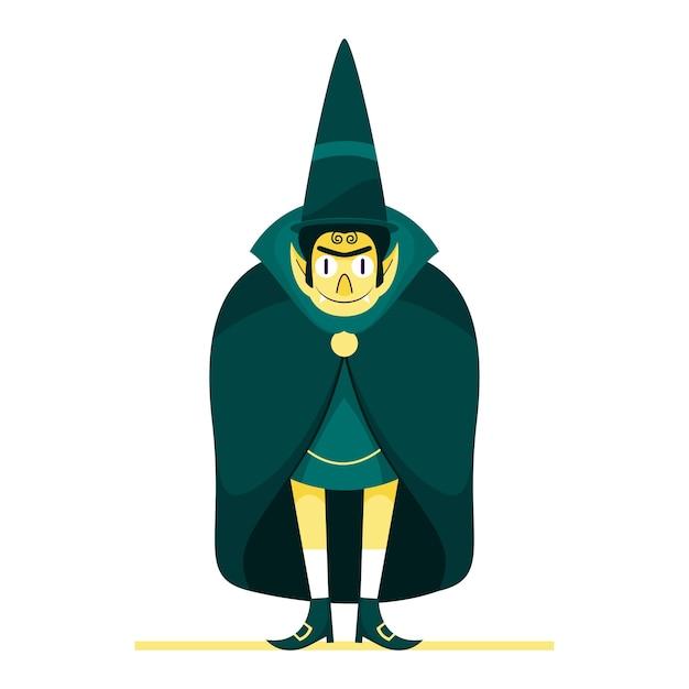 Cartoon dracula man met hoge hoed in staande pose