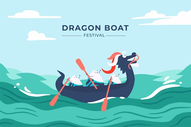 Cartoon drakenboot achtergrond