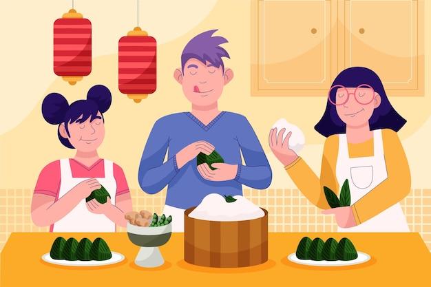 Cartoon drakenboot familie voorbereiding en eten zongzi illustratie