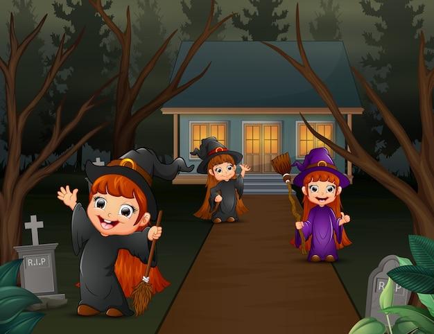 Cartoon drie langharige heks kinderen
