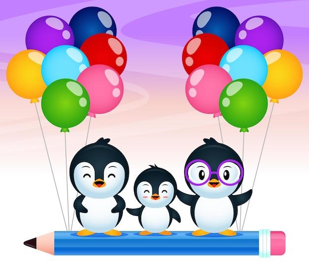 Cartoon drie schattige pinguïns rijden op vliegend potlood