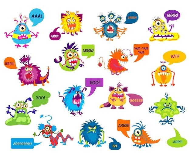 Cartoon dwaze monsters met grappige inscripties illustratie. monsters die grommen en schreeuwen, karaktermonsters die bang maken