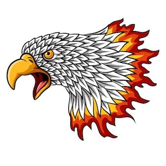 Cartoon eagle hoofd mascotte met vlammen
