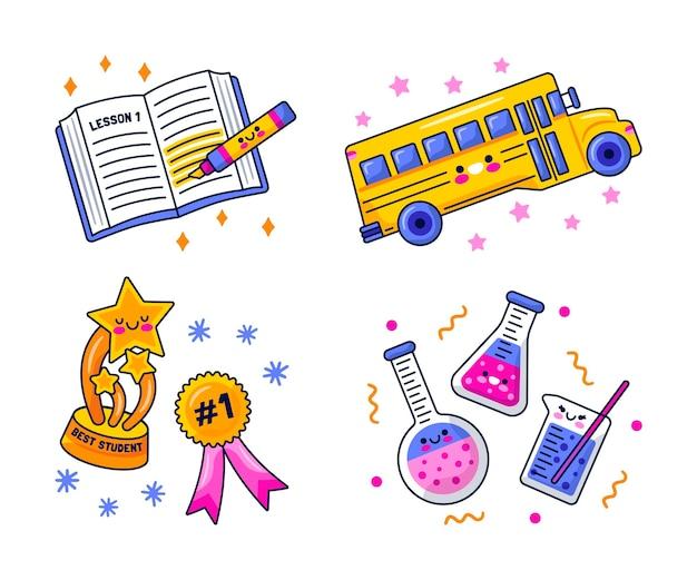Cartoon educatieve stickers set