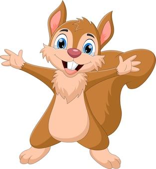 Cartoon eekhoorn beide handen zwaaien en glimlachen