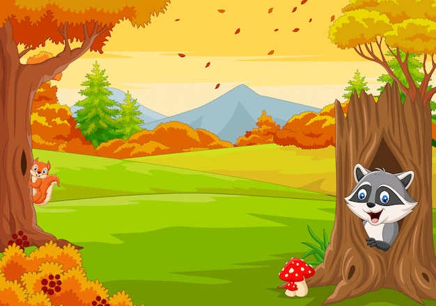 Cartoon eekhoorn met wasbeer in de herfst bos