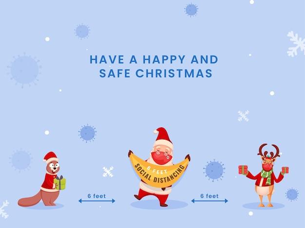 Cartoon eekhoorn, rendieren, santa claus dragen beschermend masker