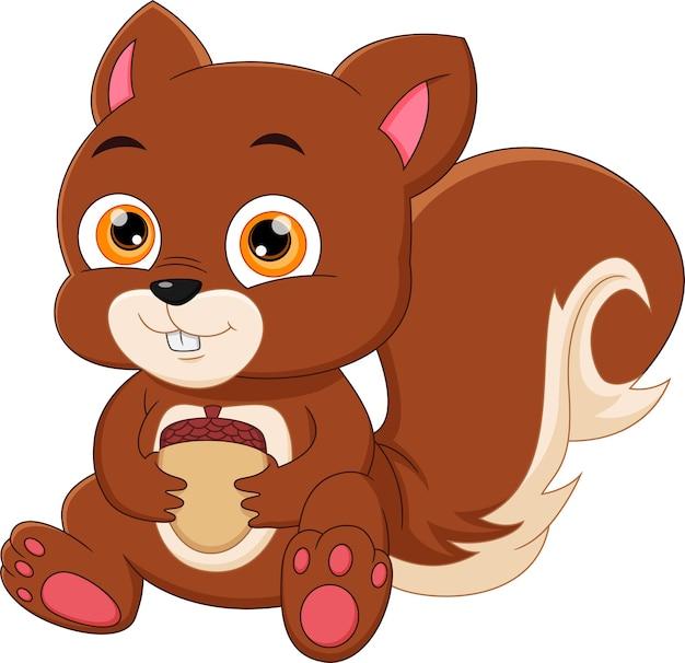 Cartoon eekhoorn zitten en houden een moer