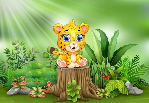 Cartoon een baby luipaard zittend op boomstronk met groene planten