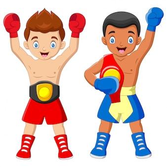 Cartoon een bokskampioenschap jongens