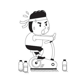 Cartoon een dikke man paardrijden hometrainer