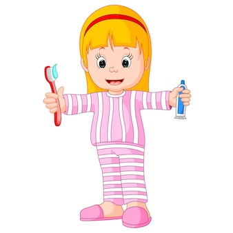 Cartoon een jong meisje haar tanden poetsen