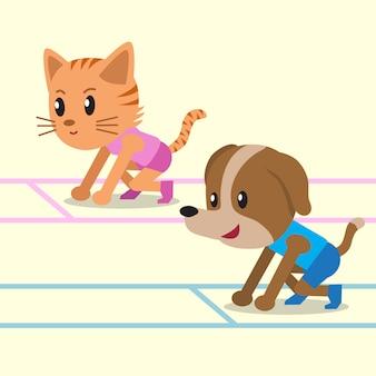 Cartoon een kat en een hond klaar om te rennen