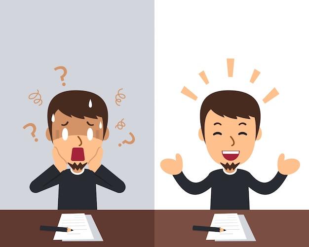 Cartoon een man die verschillende emoties uitdrukt