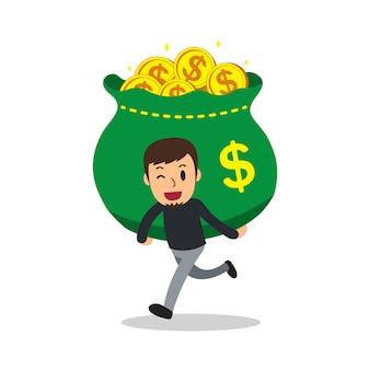 Cartoon een man met grote geld tas