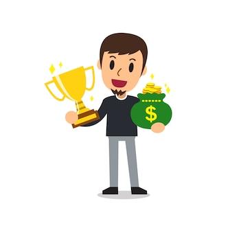 Cartoon een man met trofee en geld tas