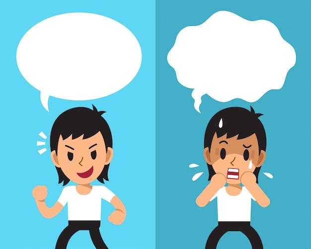 Cartoon een man verschillende emoties uitdrukken met witte tekstballonnen