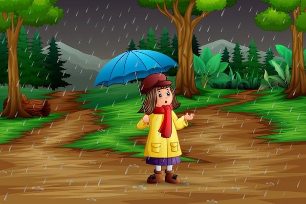 Cartoon een meisje met paraplu onder de regen