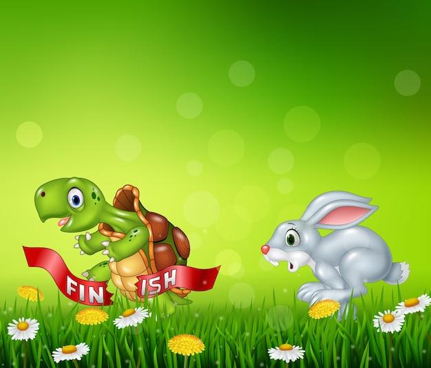 Cartoon een schildpad wint de race tegen een konijn