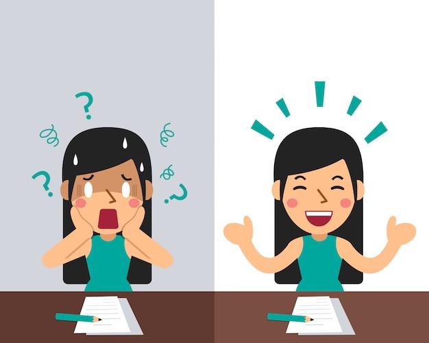 Cartoon een vrouw die verschillende emoties uitdrukt