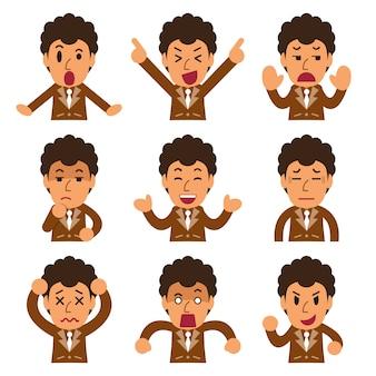 Cartoon een zakenman gezichten met verschillende emoties
