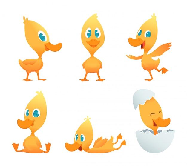 Cartoon eend. verschillende actie houdingen van grappige eend