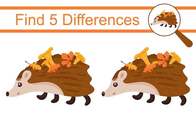 Cartoon egel. zoek 5 verschillen. educatief spel voor kinderen.